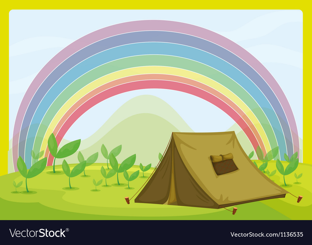 A tent and a rainbow vector   Price: 1 Credit (USD $1)