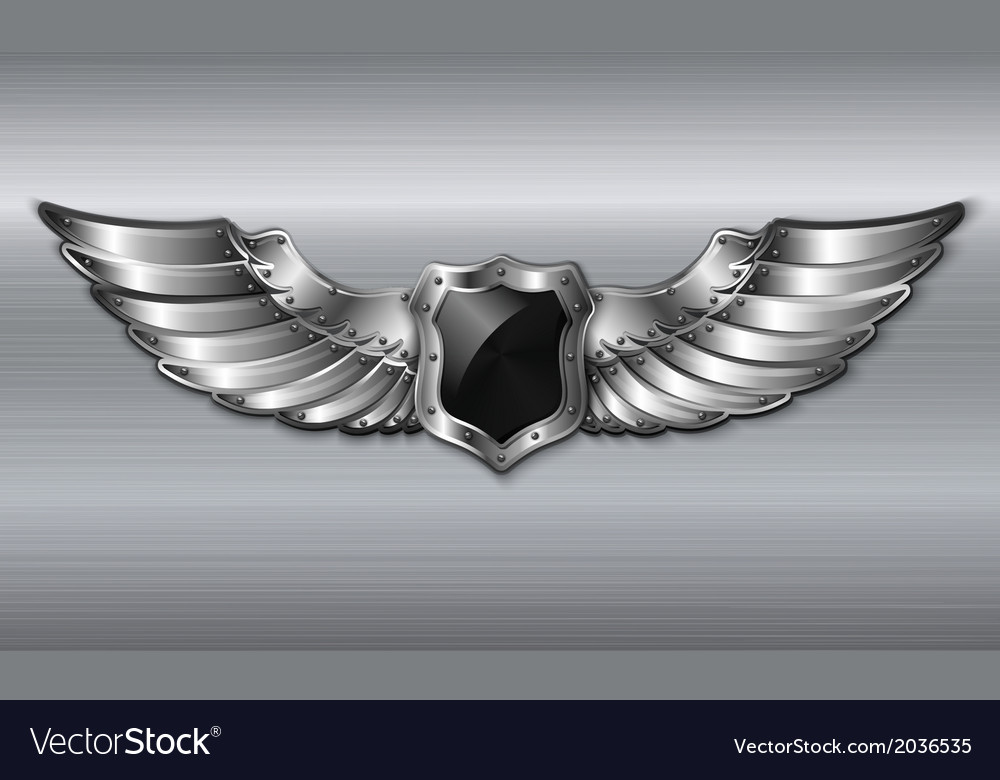 Black metal winged shield emblem vector