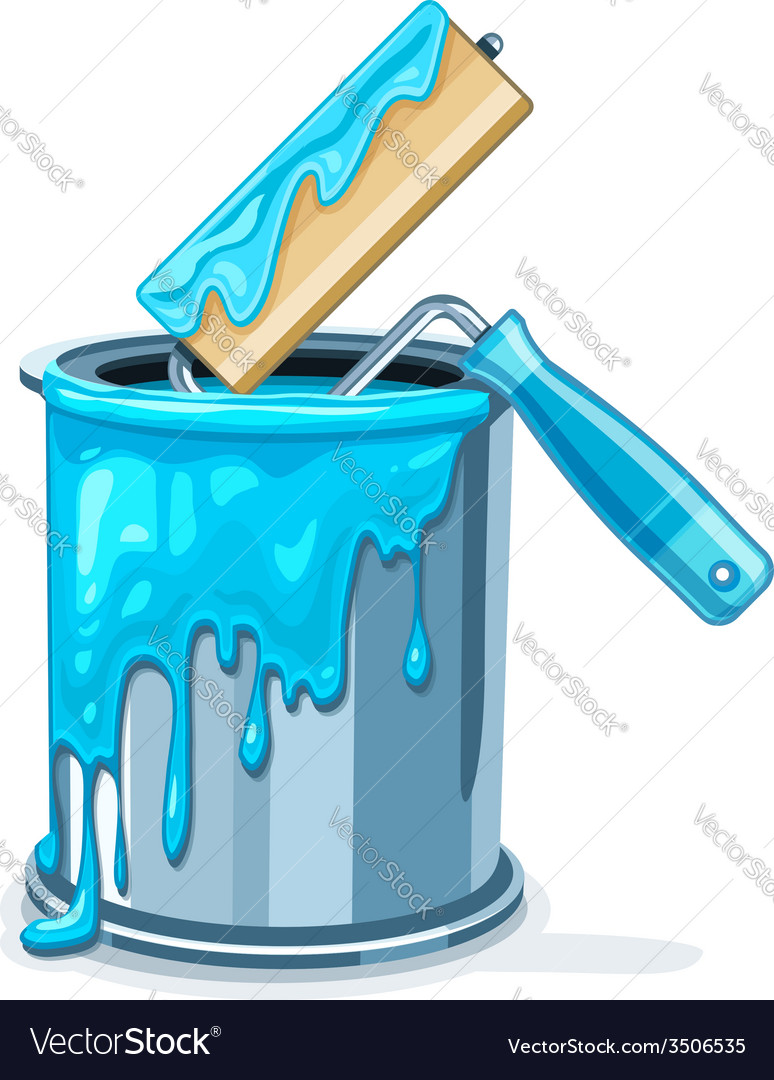 Can bucket with blue paint vector | Price: 3 Credit (USD $3)
