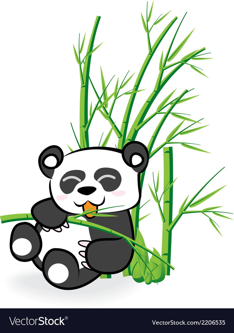 Cute panda bear in bamboo forrest 02 vector | Price: 1 Credit (USD $1)