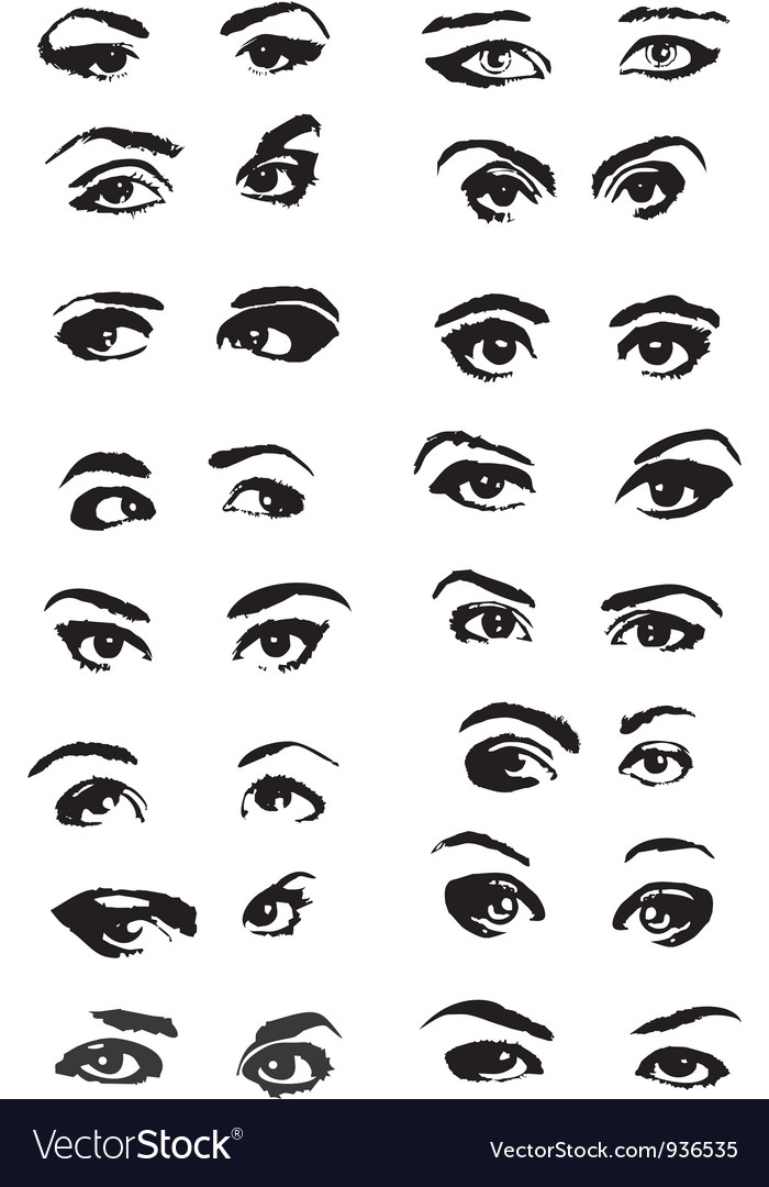 Eye woman set vector | Price: 1 Credit (USD $1)