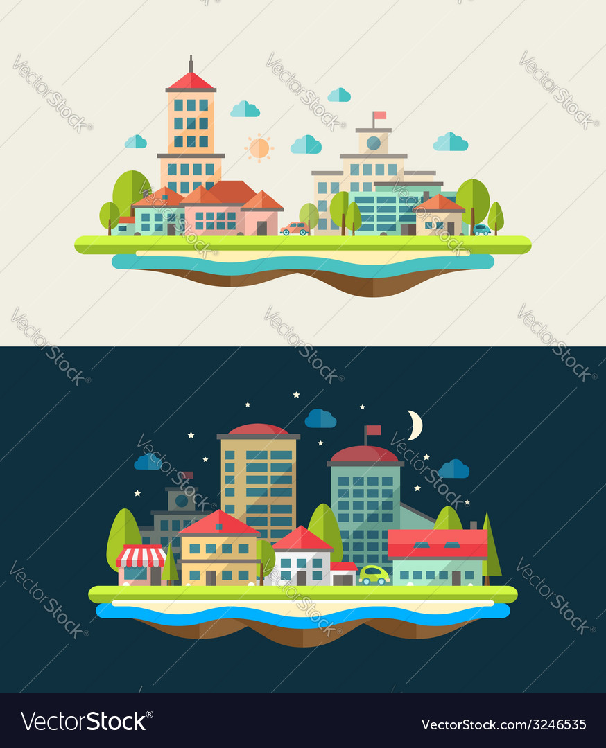 Flat design urban landscape compositions vector | Price: 1 Credit (USD $1)