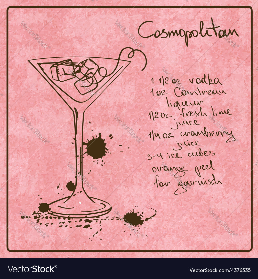 Hand drawn cosmopolitan cocktail vector   Price: 1 Credit (USD $1)
