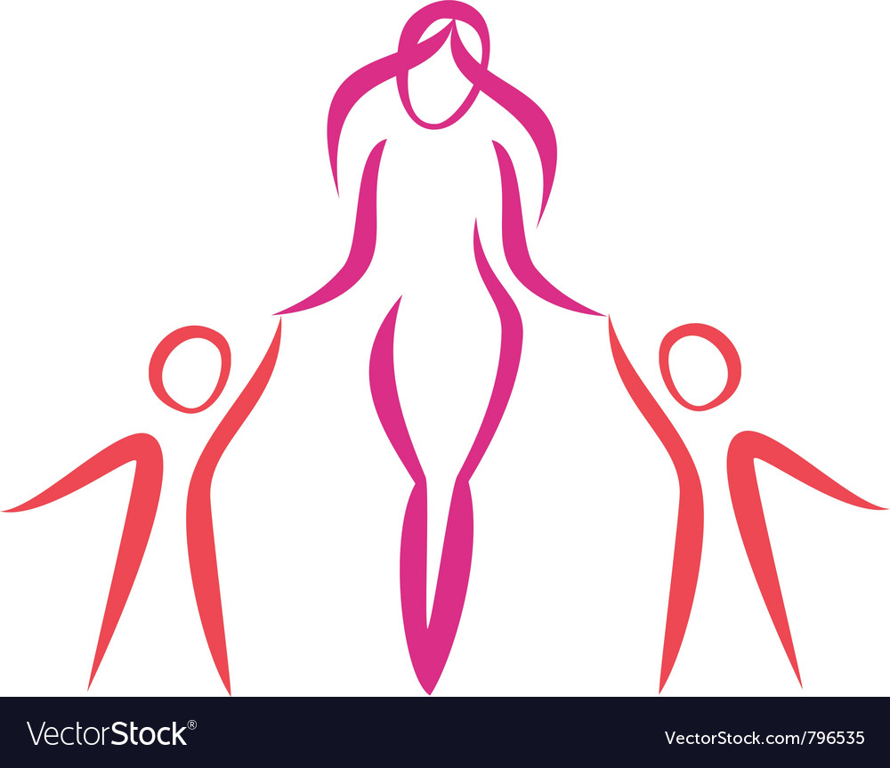 Mother and twins walking symbol in simple lines vector | Price: 1 Credit (USD $1)