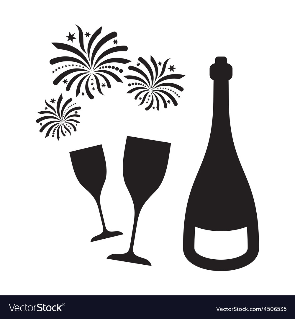 New year fireworks and champagne vector | Price: 1 Credit (USD $1)