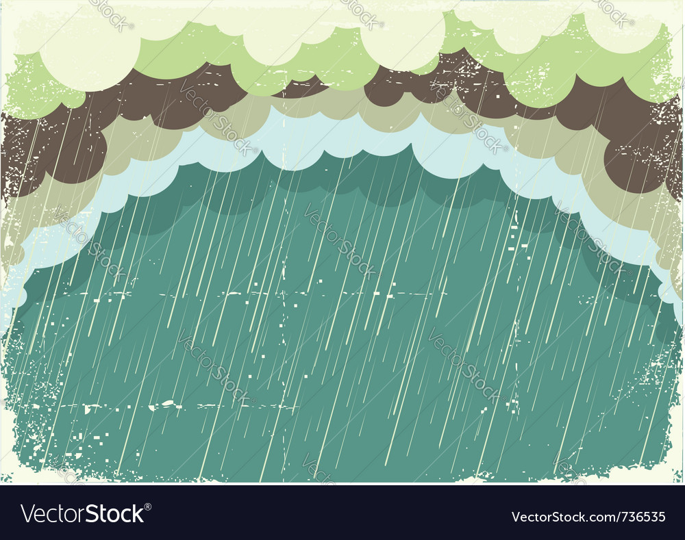 Of raining clouds on old paper texturevintage back vector | Price: 1 Credit (USD $1)