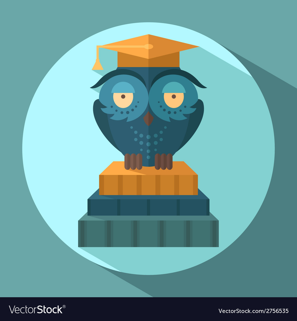 Owls in graduation cap vector | Price: 1 Credit (USD $1)