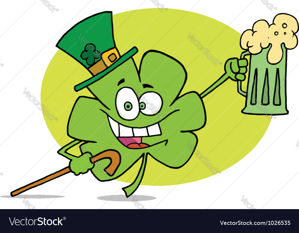 Partying clover character in a green hat vector | Price: 1 Credit (USD $1)