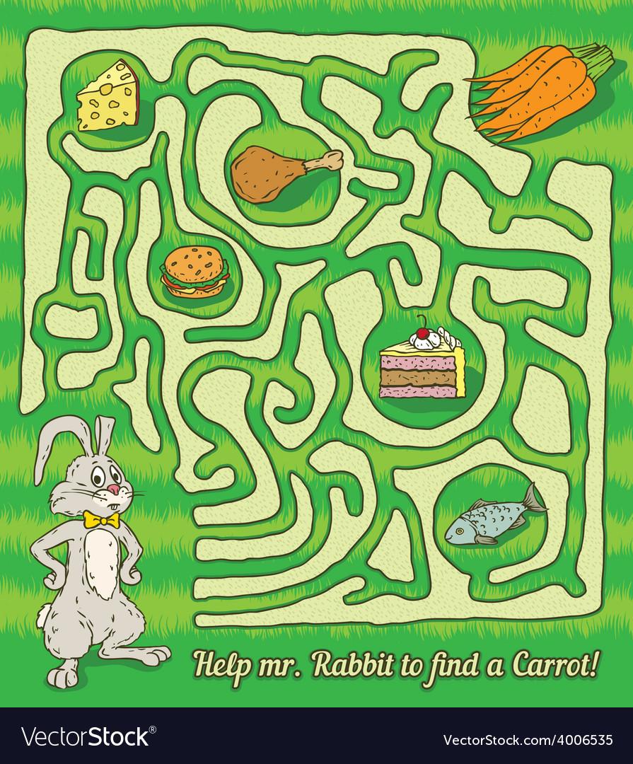 Rabbit maze game vector | Price: 1 Credit (USD $1)