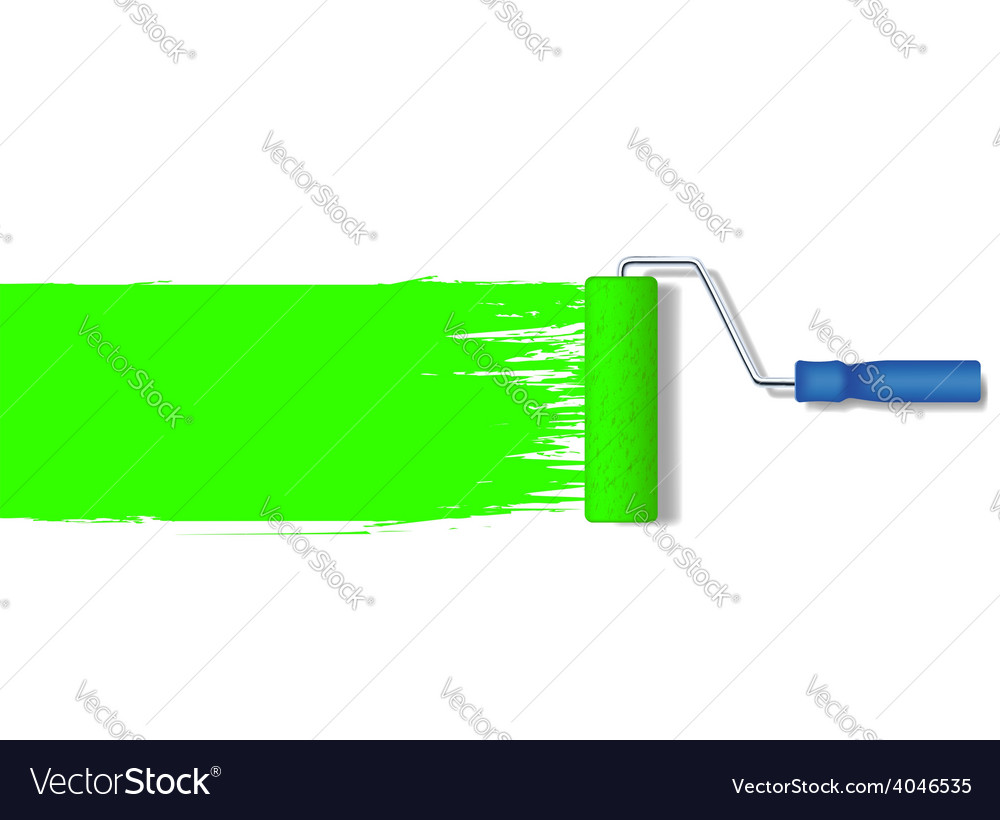 Realistic paint roller painting a green line vector | Price: 1 Credit (USD $1)