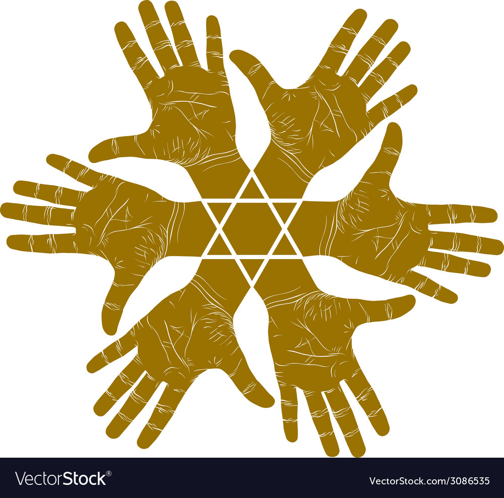 Six open hands abstract symbol with hexagonal star vector | Price: 1 Credit (USD $1)
