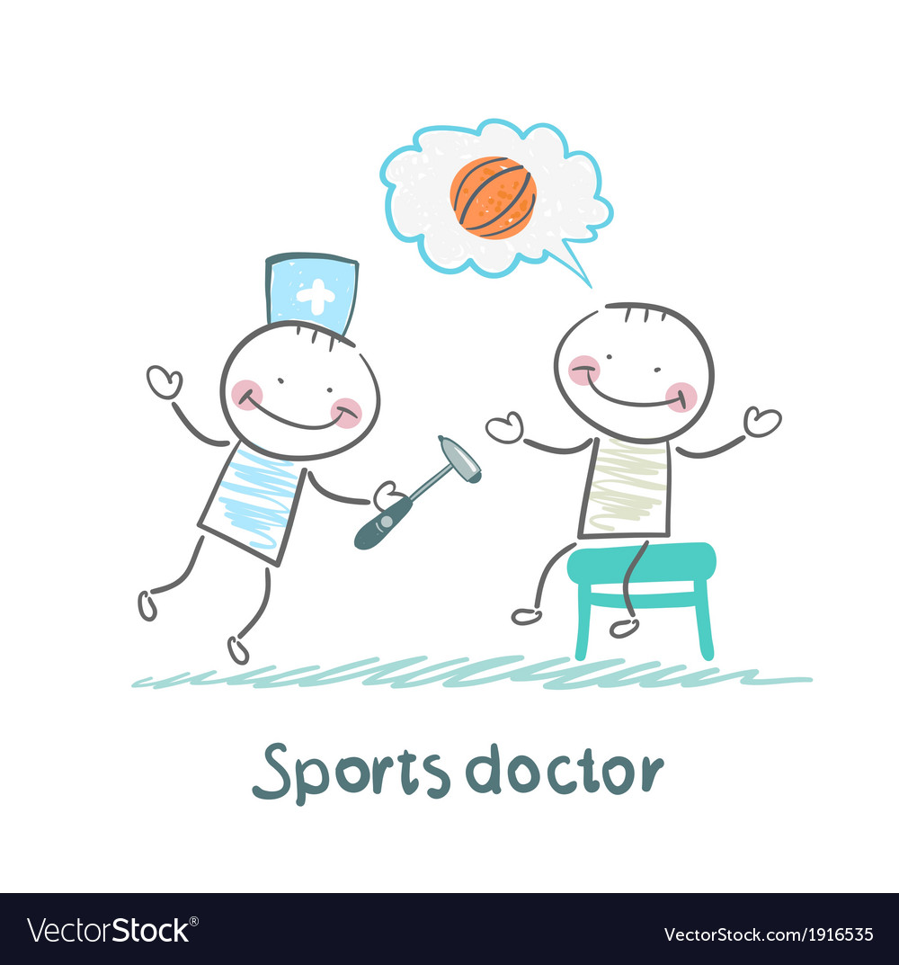 Sports doctor checking the reflexes of an athlete vector | Price: 1 Credit (USD $1)