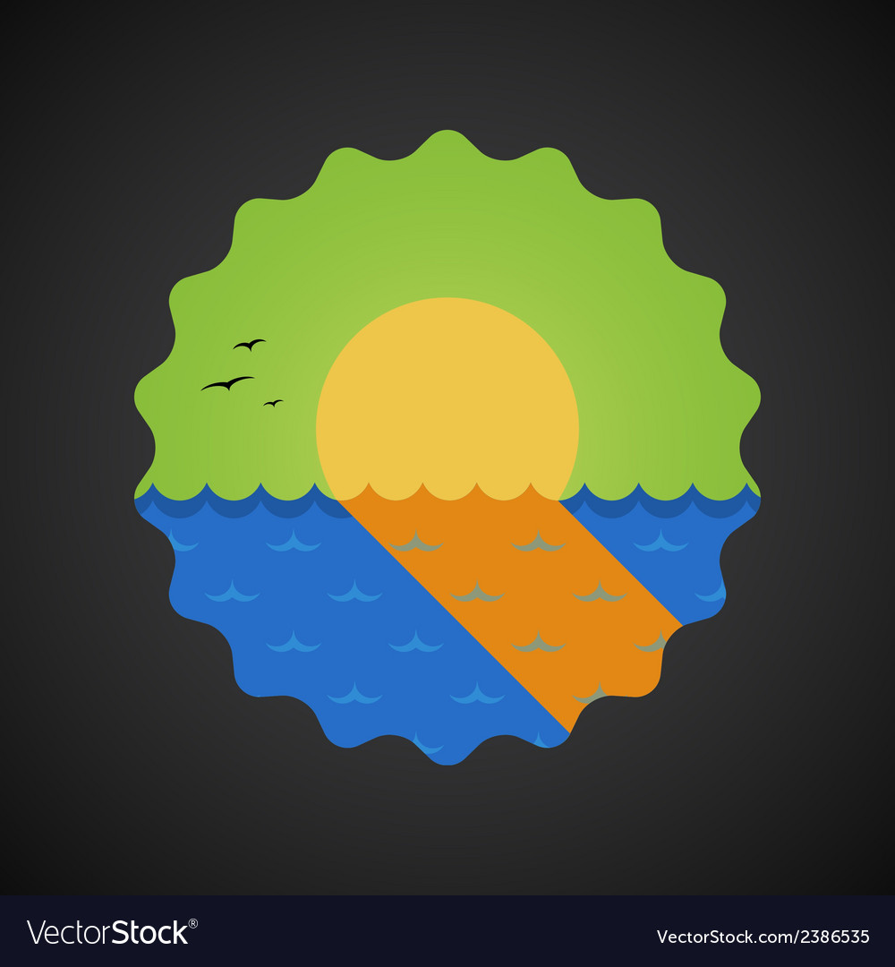 Summer travel sea sunset flat icon vector | Price: 1 Credit (USD $1)