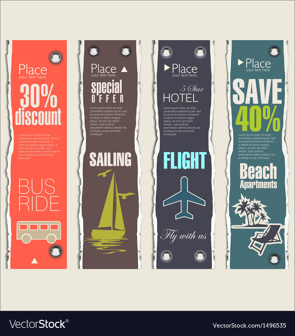 Travel banner set vector | Price: 3 Credit (USD $3)