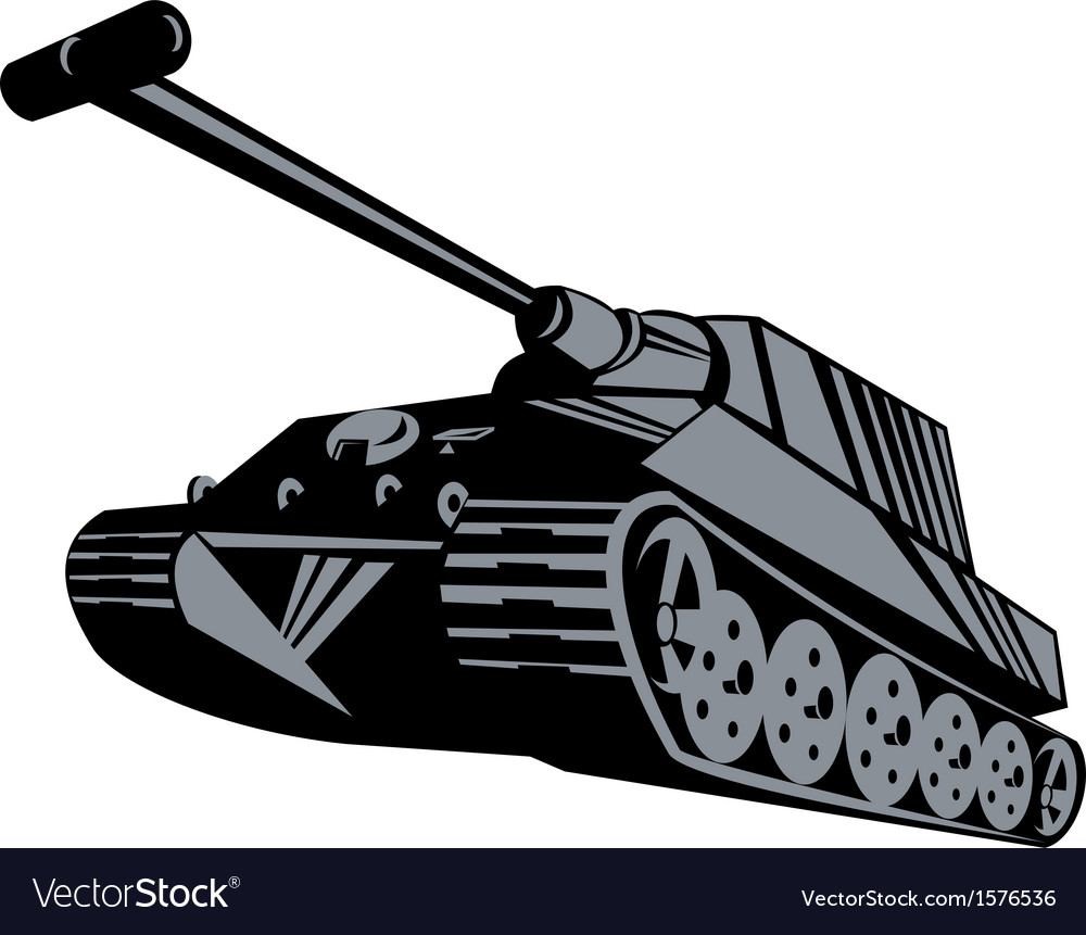 Army tank retro vector | Price: 1 Credit (USD $1)