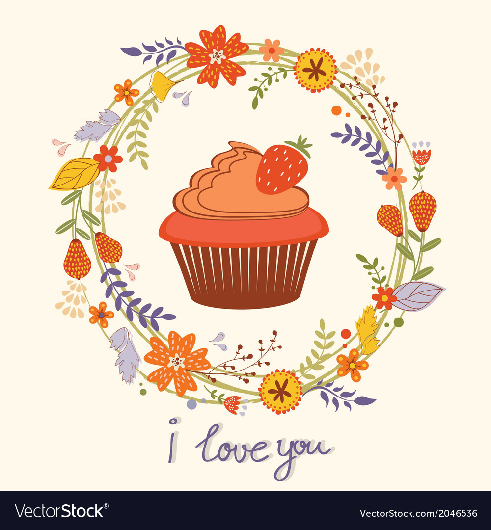 Card with cupcake and wreath vector | Price: 1 Credit (USD $1)