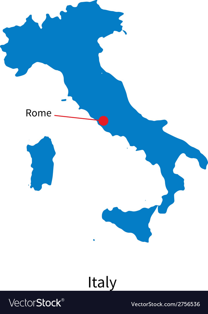 Detailed map of italy and capital city rome vector   Price: 1 Credit (USD $1)
