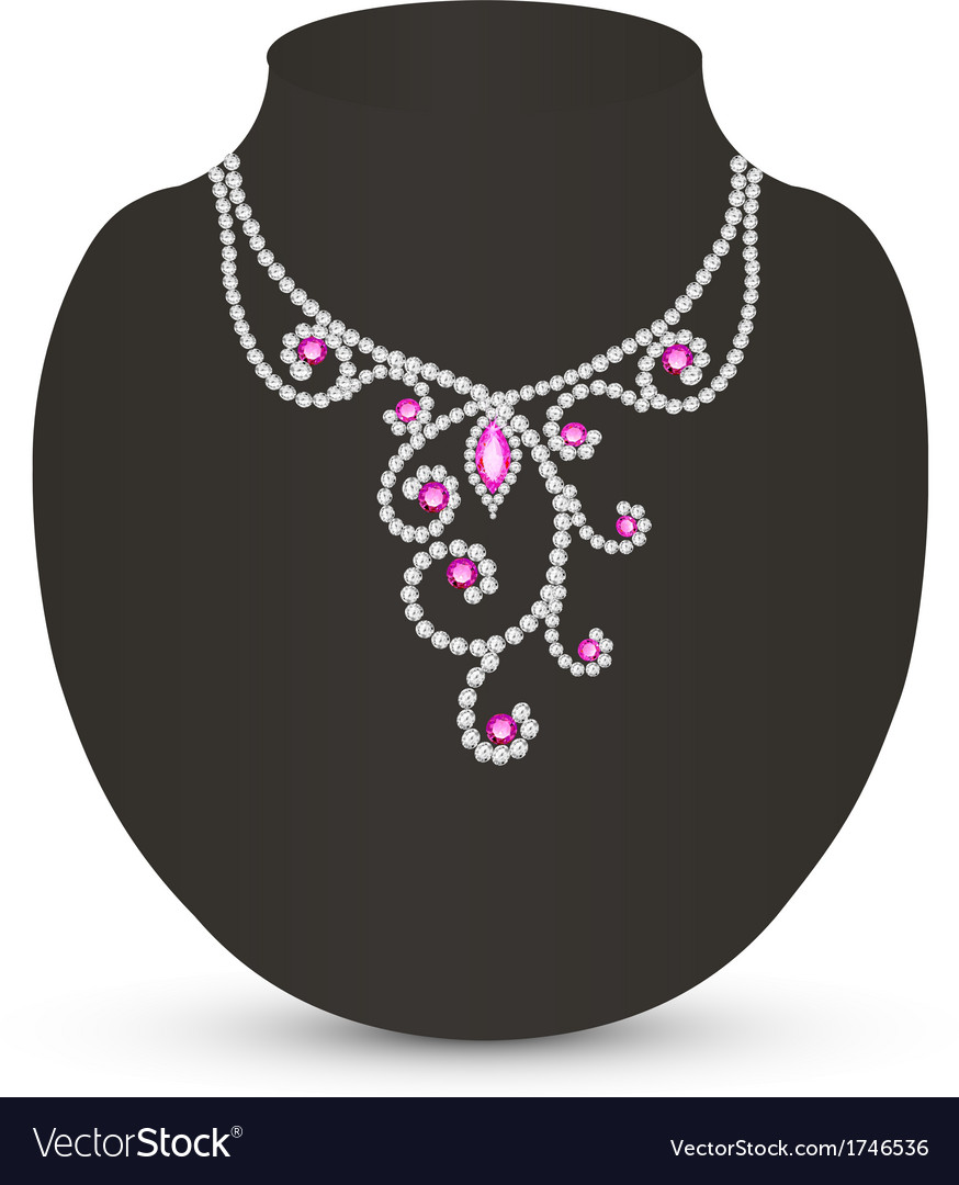 Female necklace with pink jewels vector | Price: 1 Credit (USD $1)