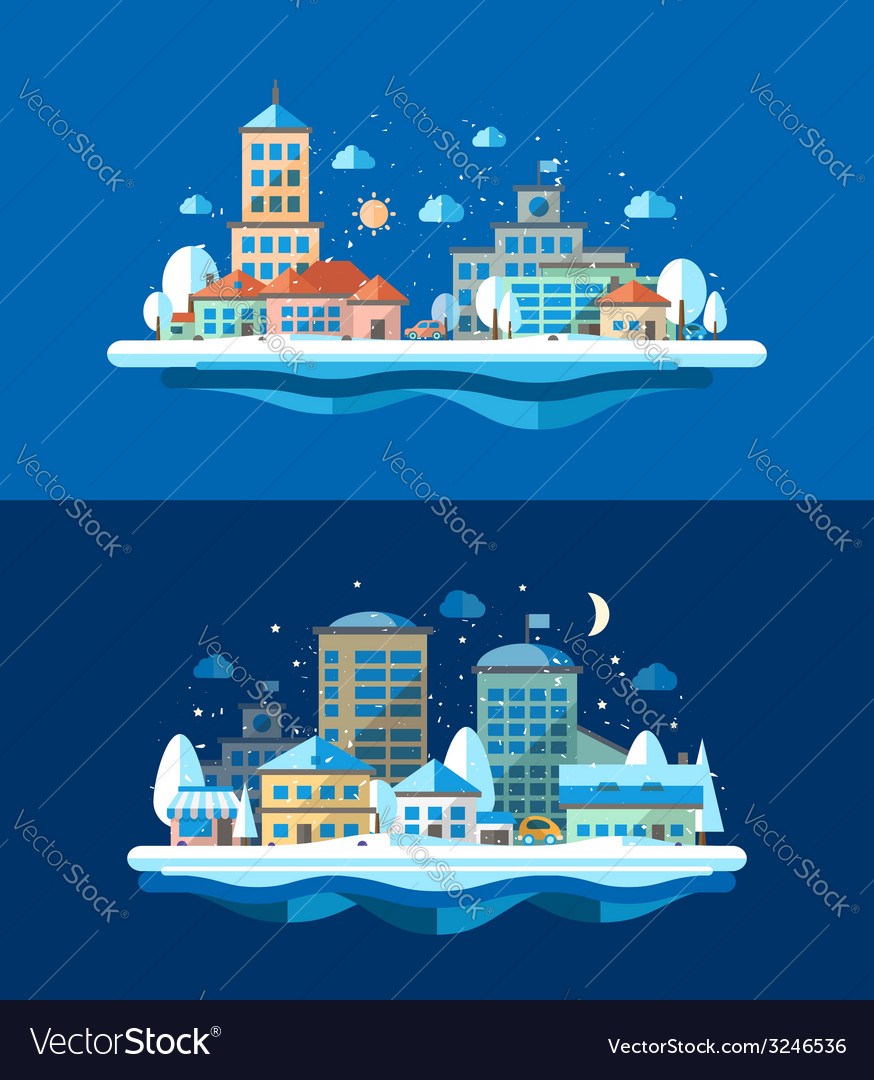 Flat design urban winter landscape compositions vector | Price: 1 Credit (USD $1)