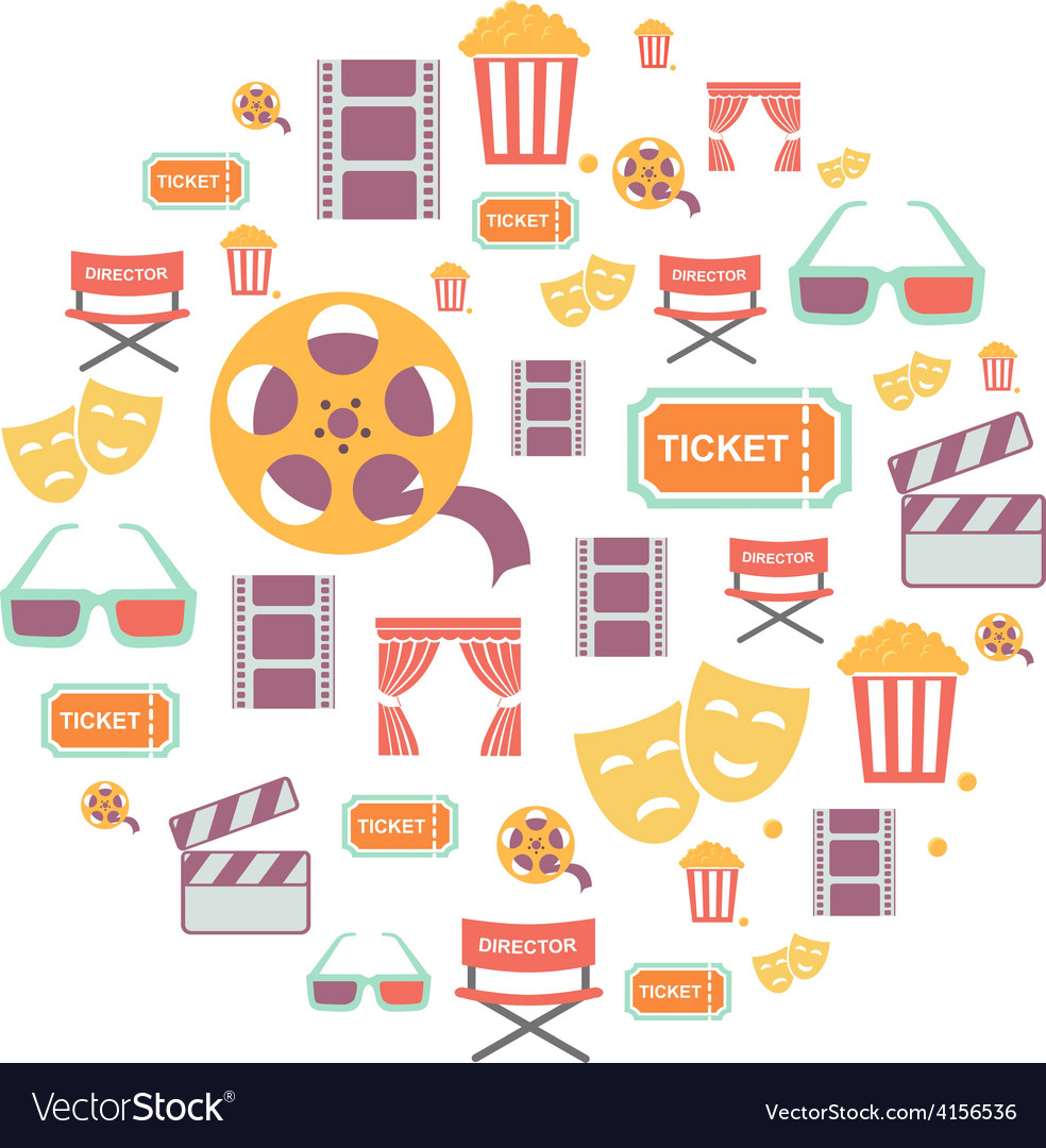 Movie graphic icons on white background vector