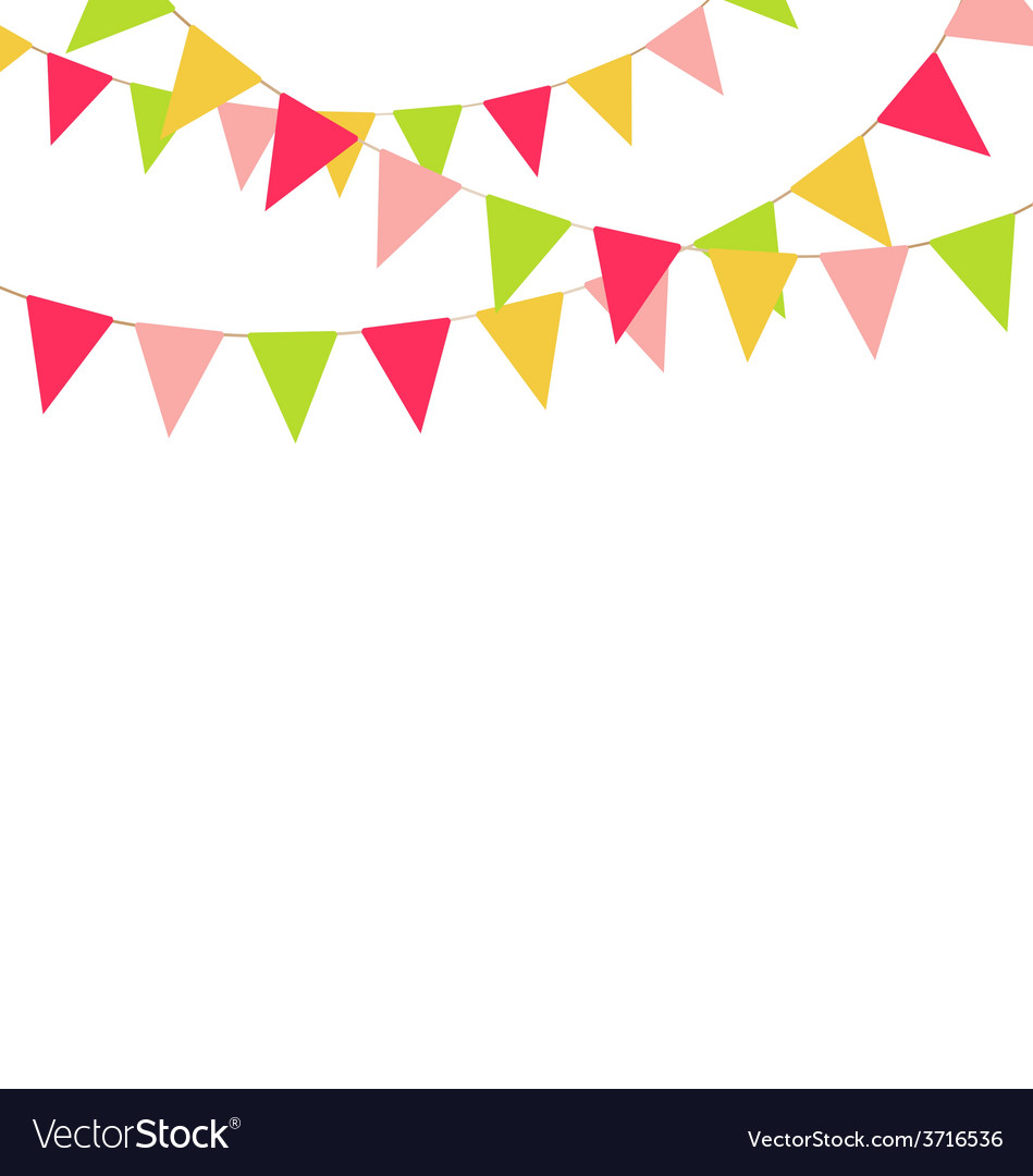Multicolored bright buntings garlands isolated on vector | Price: 1 Credit (USD $1)
