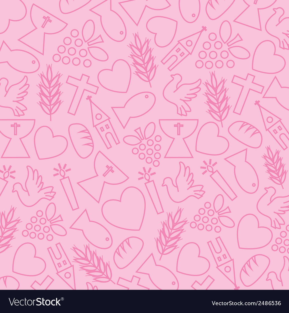 Pink background with communion icons vector | Price: 1 Credit (USD $1)