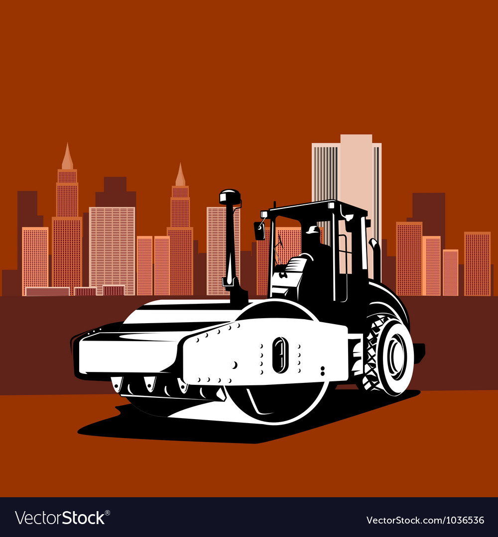 Road roller retro vector | Price: 1 Credit (USD $1)
