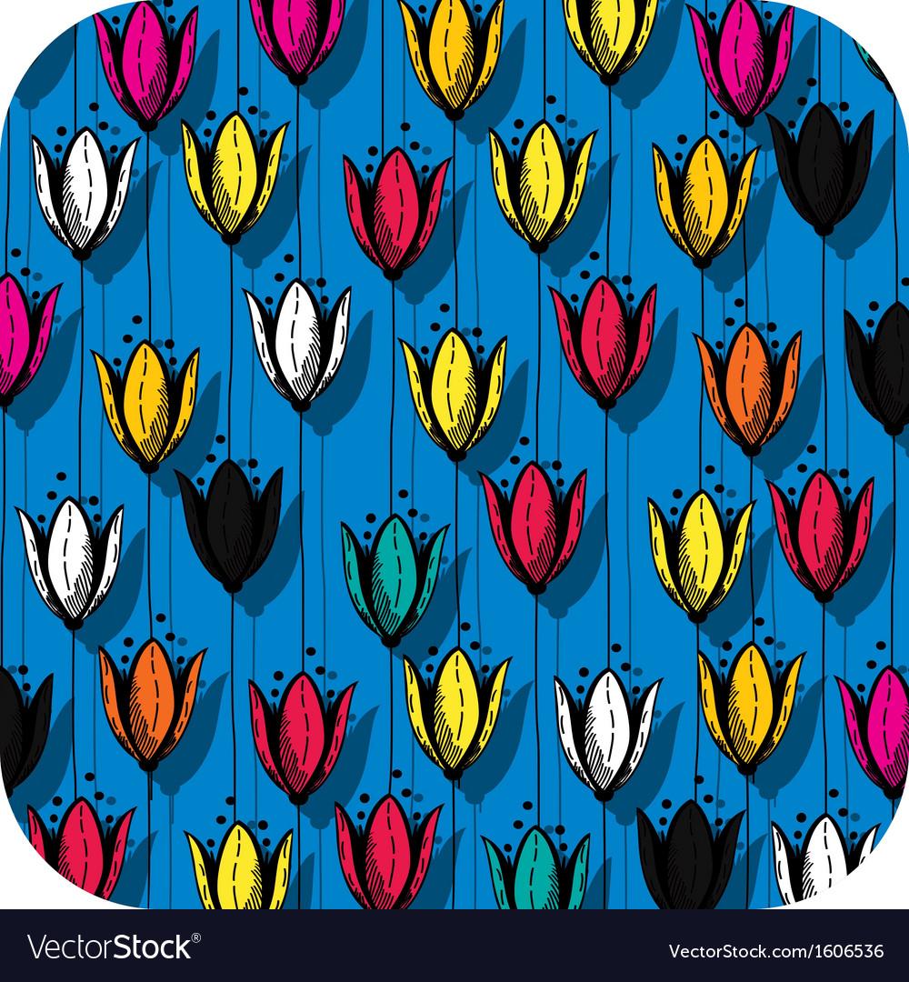 Tulip field button vector | Price: 1 Credit (USD $1)