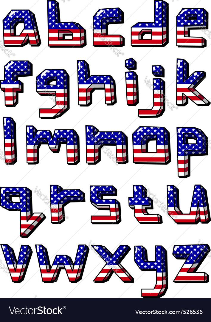 Usa small alphabet vector   Price: 1 Credit (USD $1)
