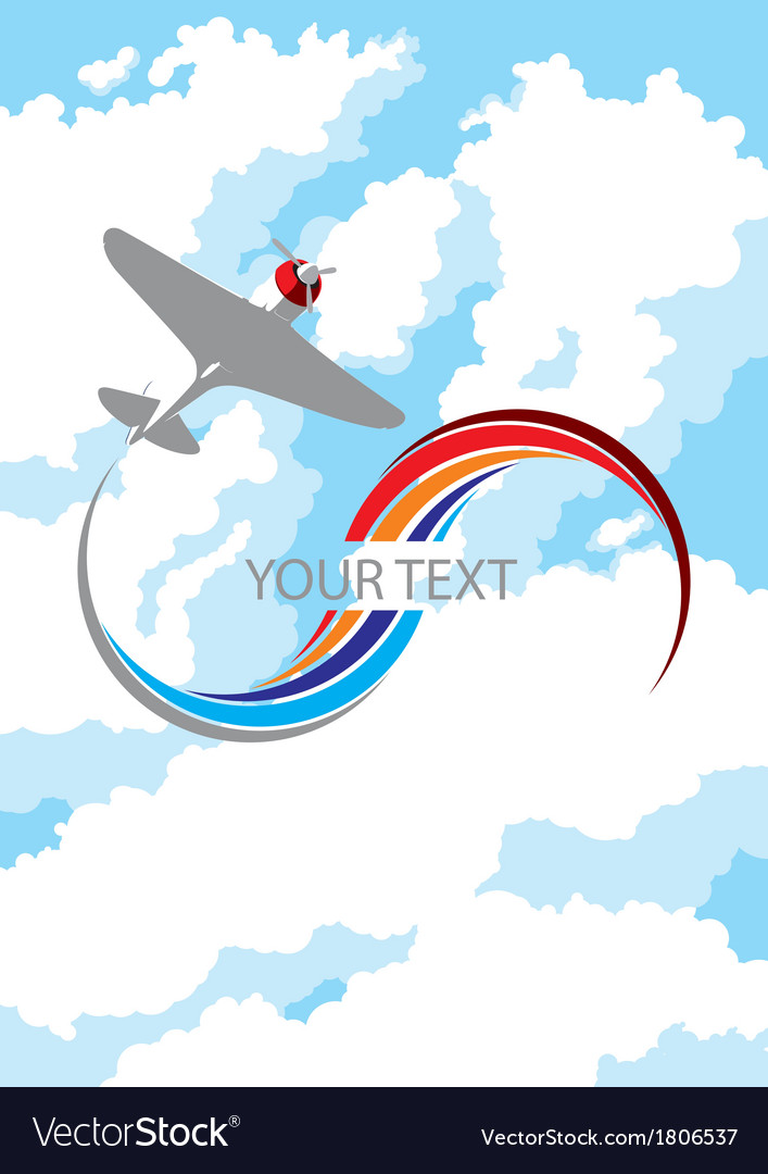 Airplane in clouds vector | Price: 1 Credit (USD $1)