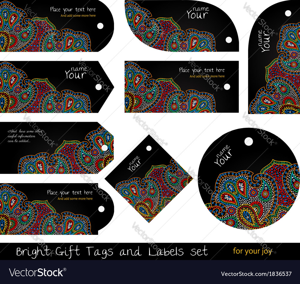 Black hippie tags set vector | Price: 1 Credit (USD $1)