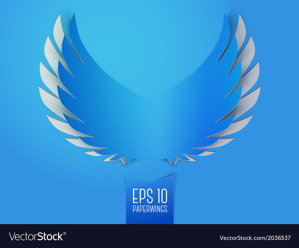 Blue paper angel wings emblem vector | Price: 1 Credit (USD $1)
