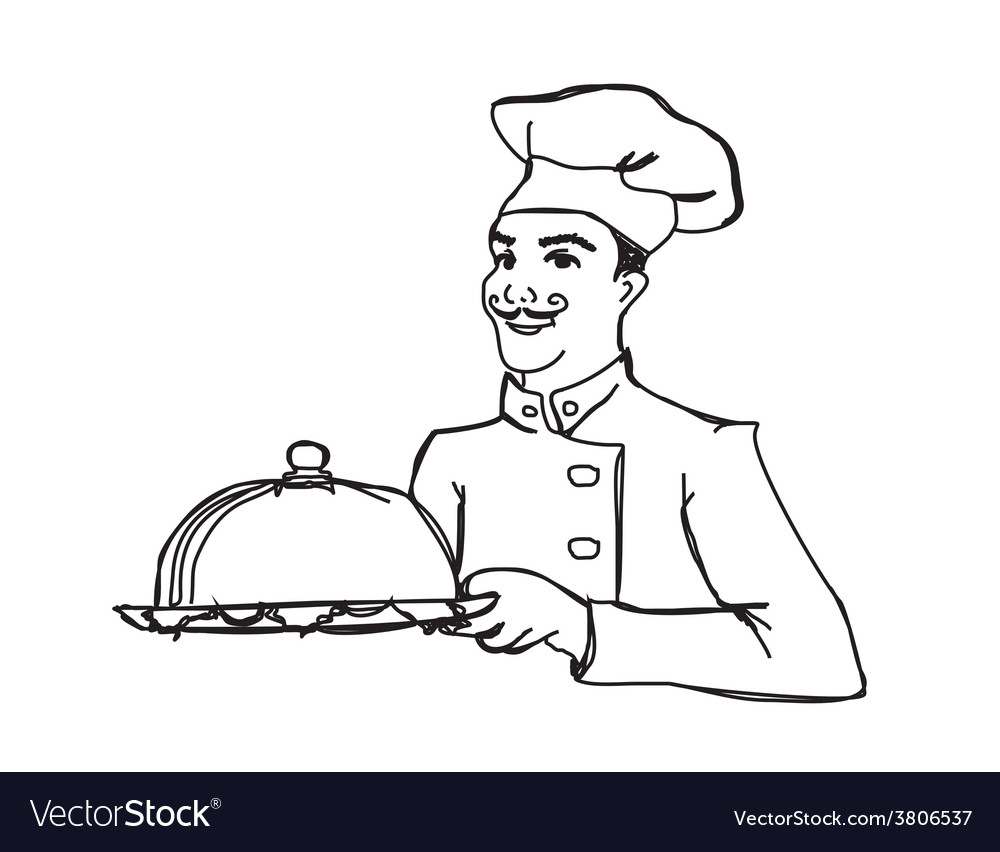 Chef cook with a tray doodle vector | Price: 1 Credit (USD $1)