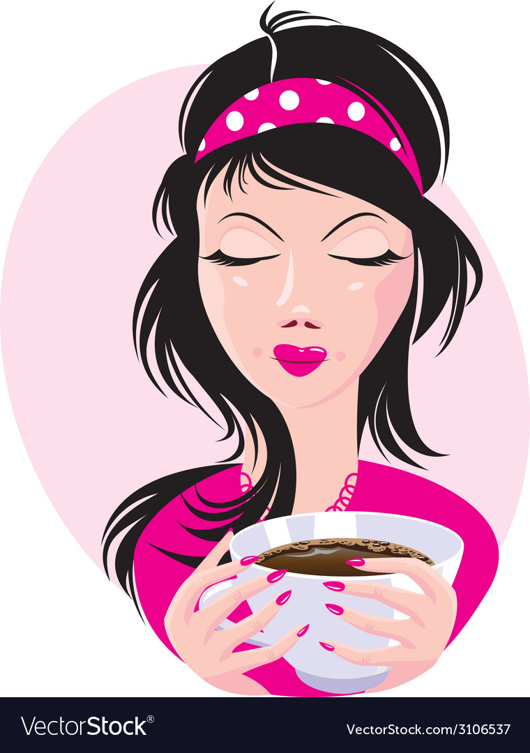 Coffee cup and girl 380 vector | Price: 1 Credit (USD $1)