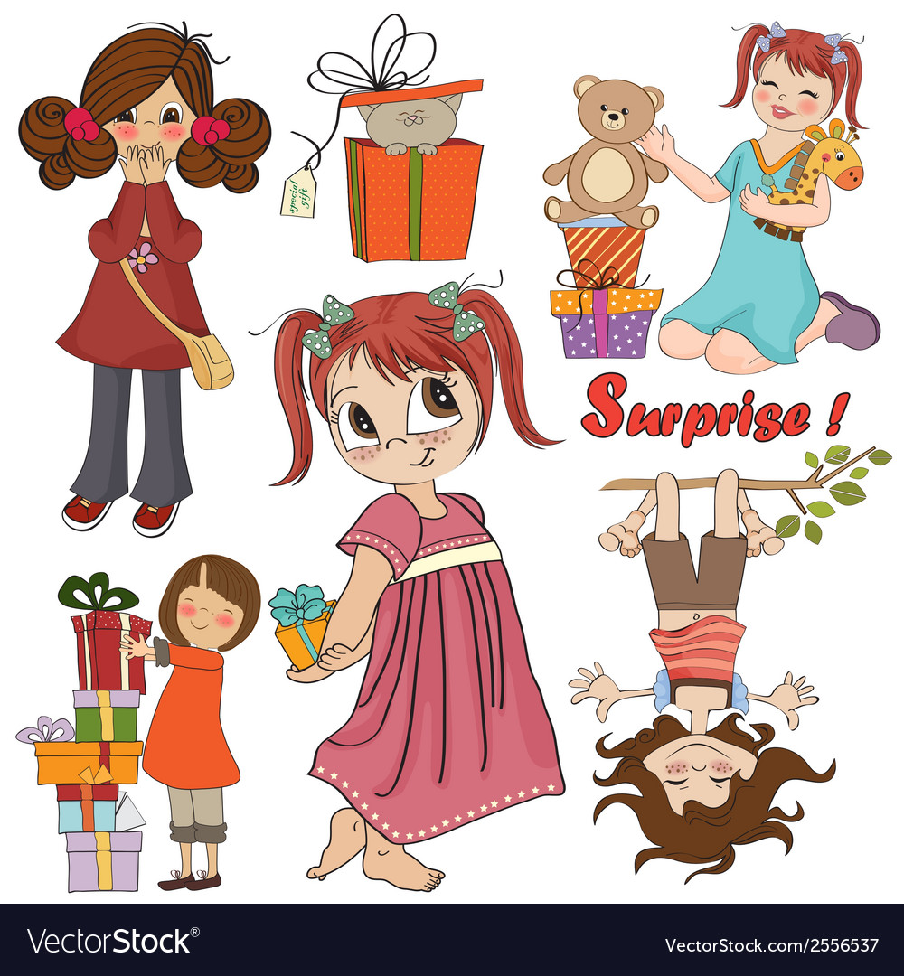 Cute girls collection isolated on white background vector | Price: 1 Credit (USD $1)