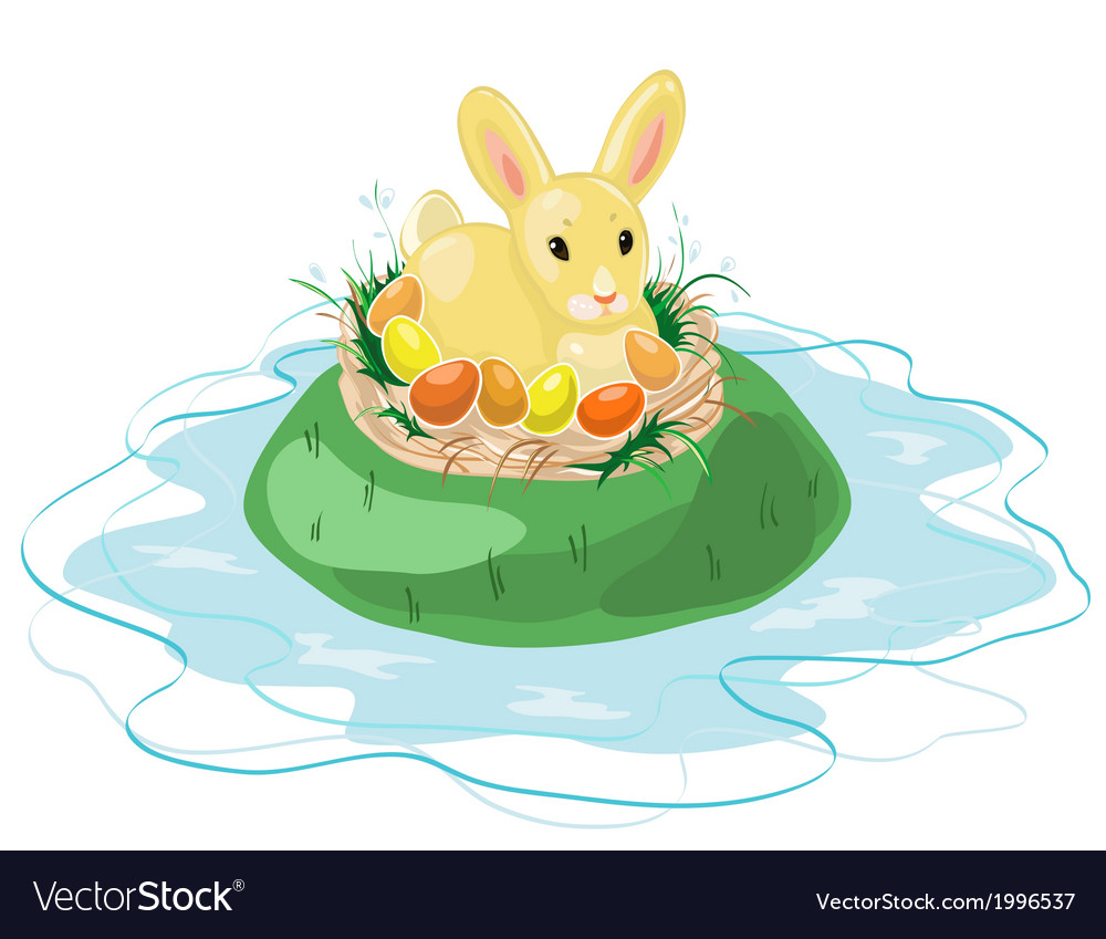 Easter bunny on the island vector | Price: 1 Credit (USD $1)