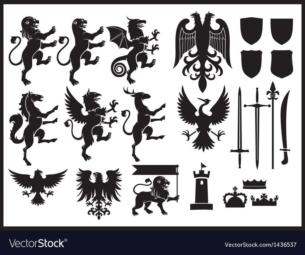 Heraldry set vector | Price: 1 Credit (USD $1)