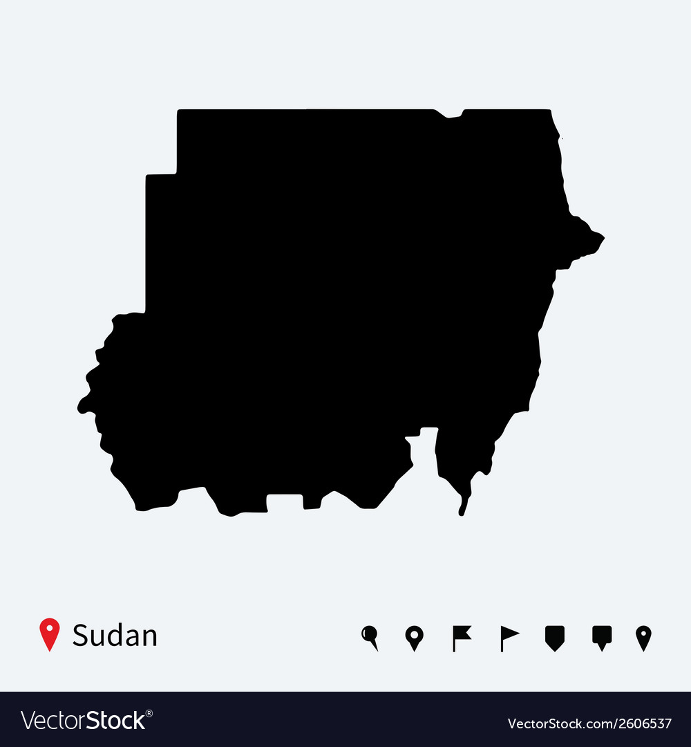 High detailed map of sudan with navigation pins vector | Price: 1 Credit (USD $1)