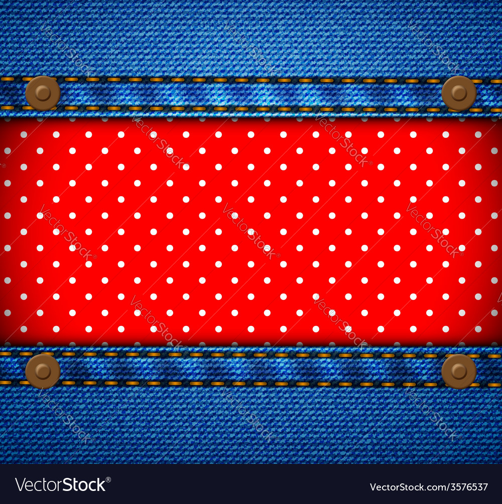 Jeans frame with polka dot patch vector | Price: 1 Credit (USD $1)
