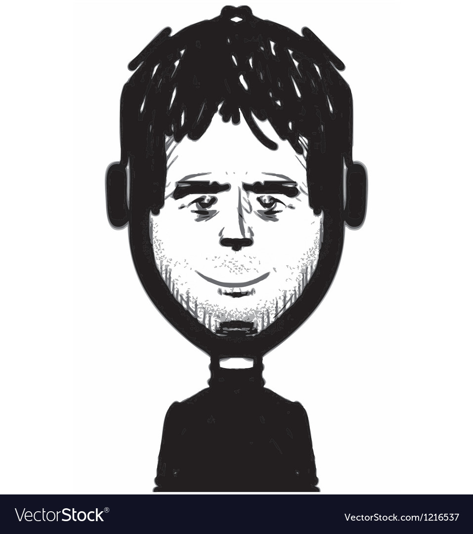 Man figure with headphones sketch vector | Price: 1 Credit (USD $1)