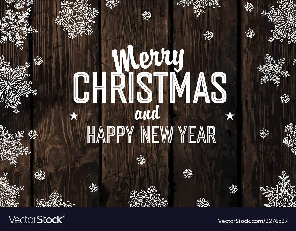 Merry christmas greeting on aged hardwood planks vector | Price: 1 Credit (USD $1)