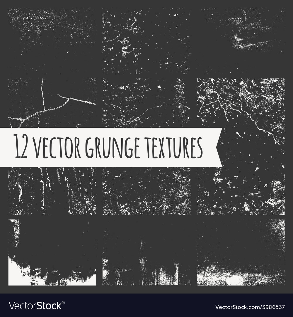 Set of different grunge textures vector | Price: 1 Credit (USD $1)