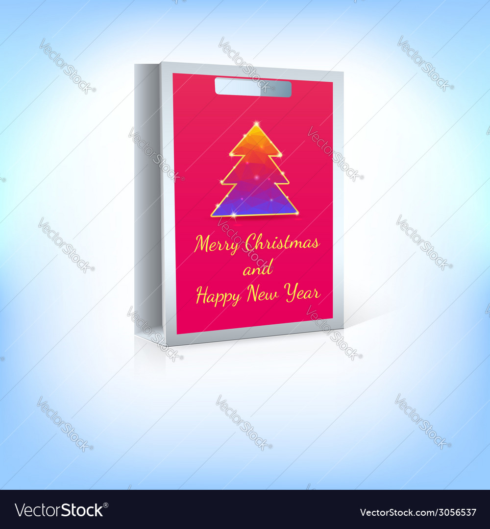 Shopping bag with christmas tree vector | Price: 1 Credit (USD $1)