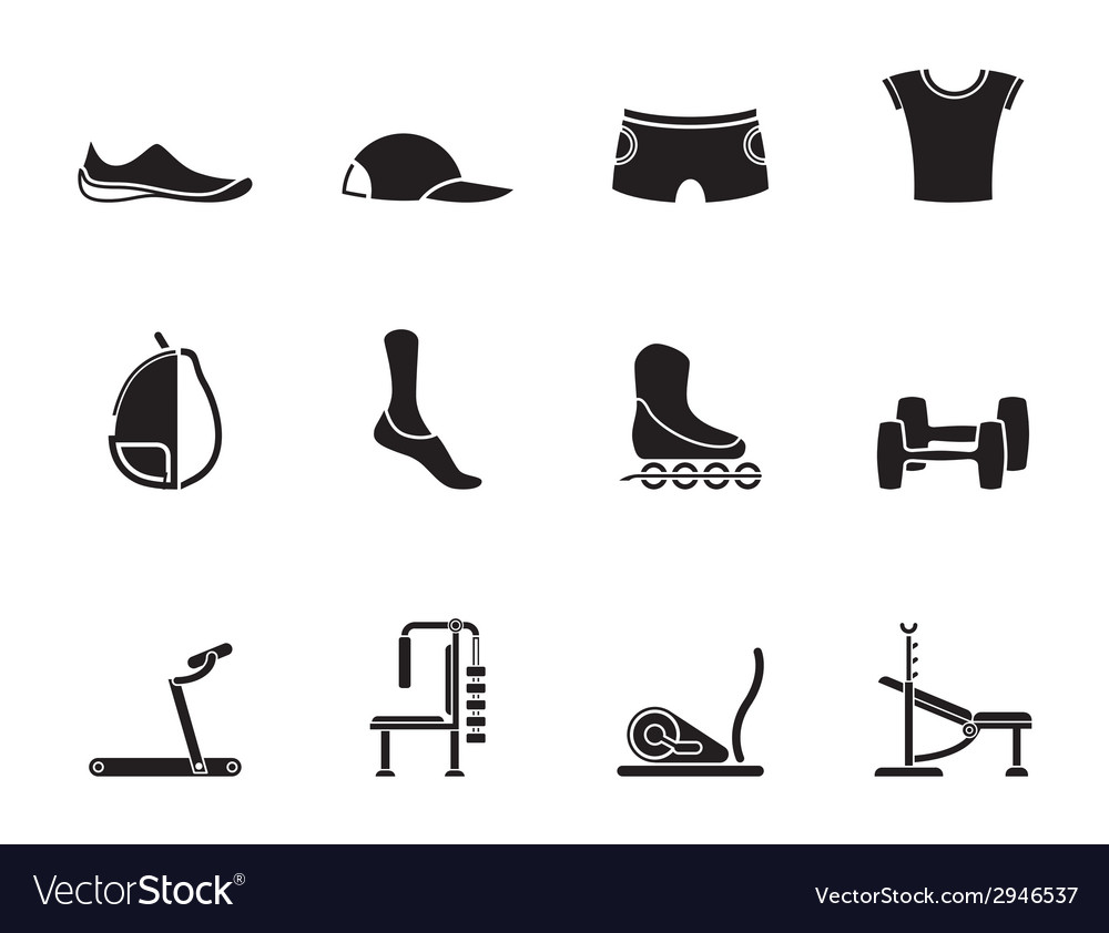 Silhouette sports equipment and objects icons vector | Price: 1 Credit (USD $1)