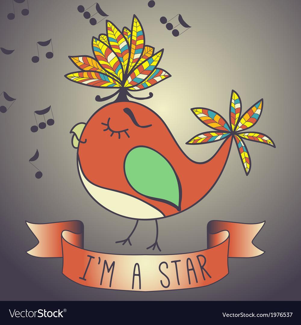 Sing bird ribbon and slogan vector | Price: 1 Credit (USD $1)