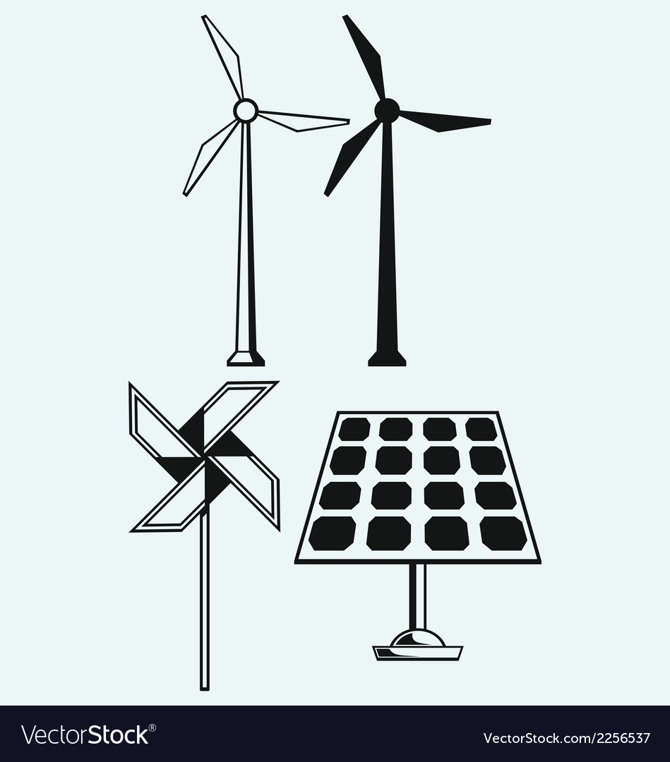 Solar panel and windmill vector | Price: 1 Credit (USD $1)