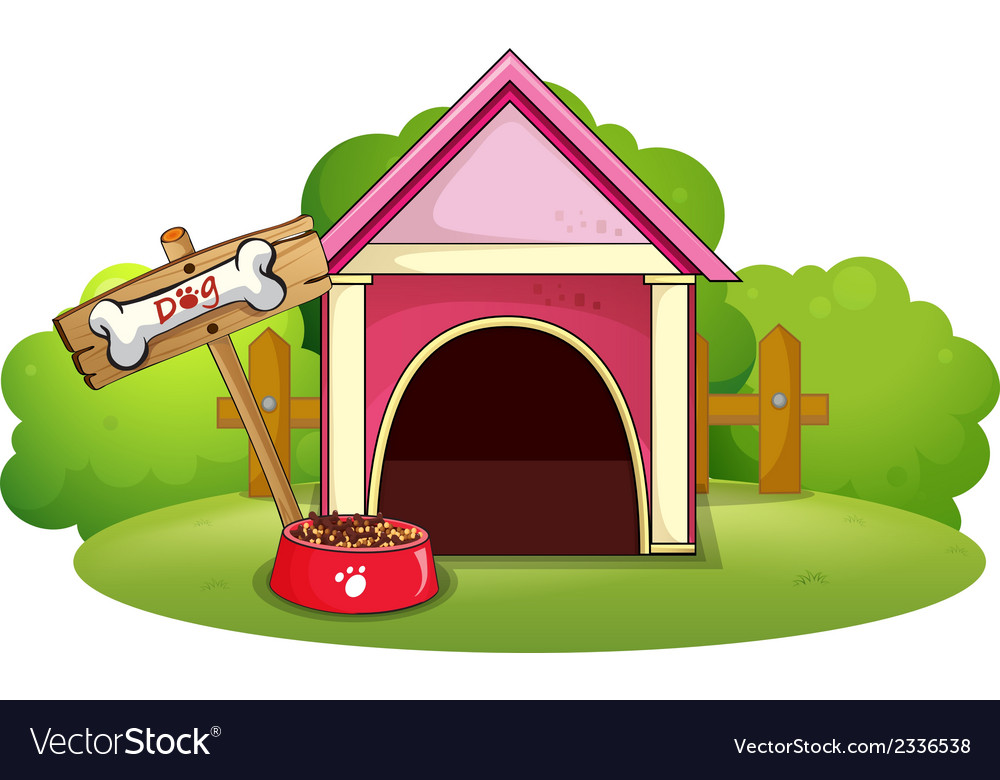 A wooden doghouse at the yard vector | Price: 1 Credit (USD $1)