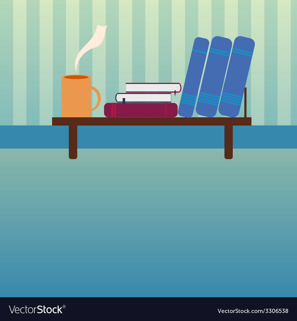Bookshelf with books and cup of hot tea in style vector | Price: 1 Credit (USD $1)