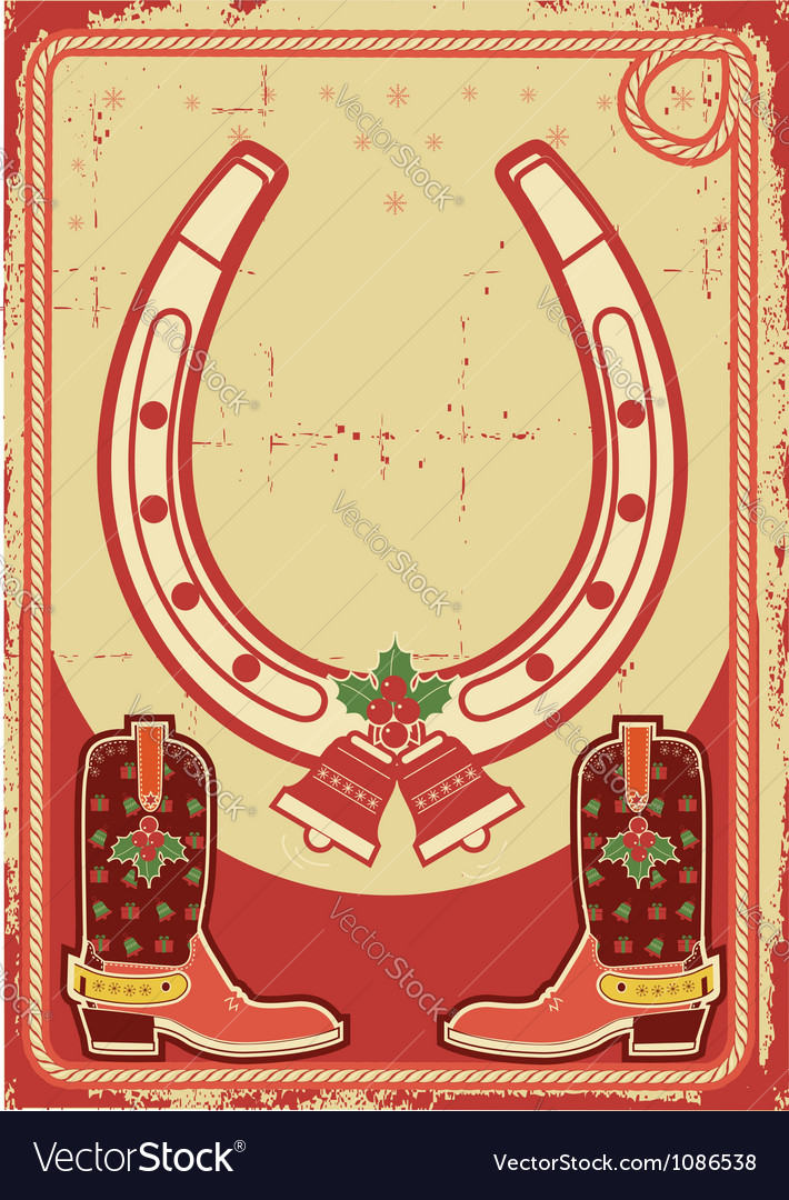 Christmas card background with lucky horseshoe and vector | Price: 1 Credit (USD $1)