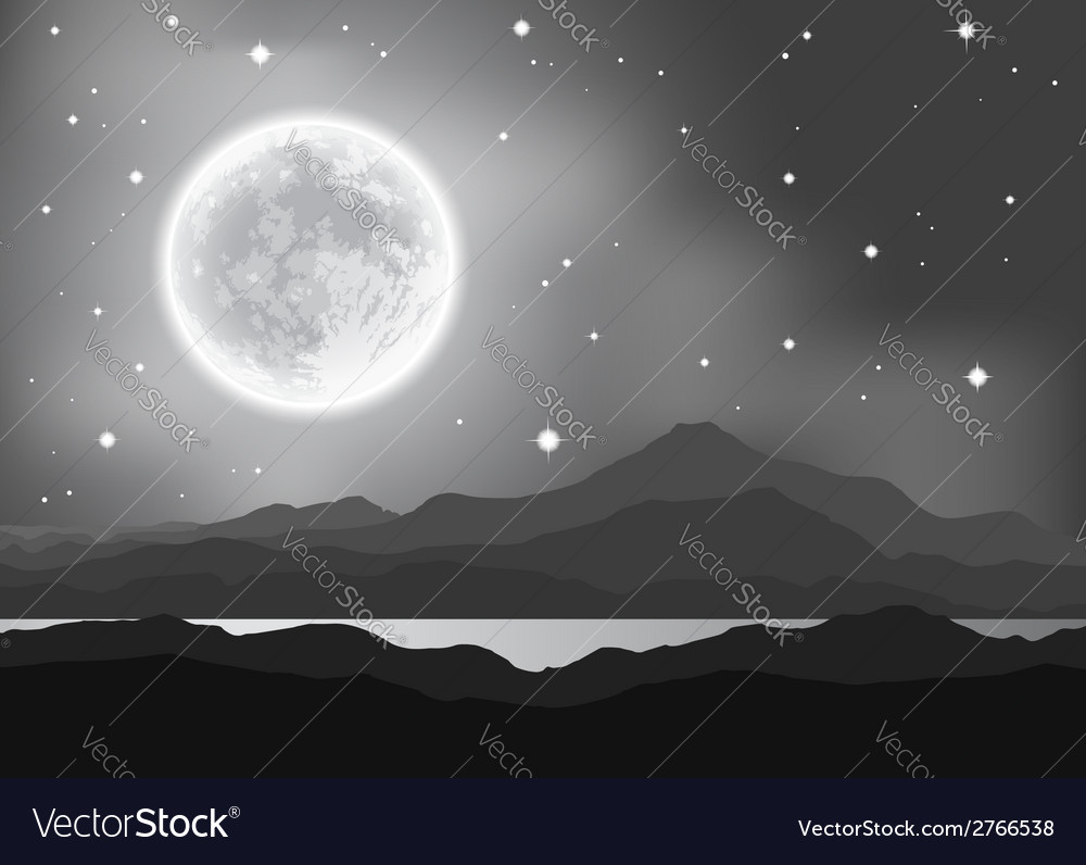 Full moon over mountains and lake night landscape vector | Price: 1 Credit (USD $1)